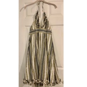 J. Crew Sylvan Linen Ruffle Halter Dress